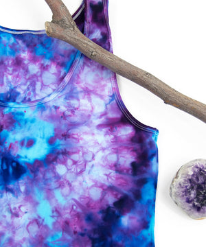 Blueberry ice dye tank top by Akasha Sun.  Hand-dyed blue tie dye shirt.