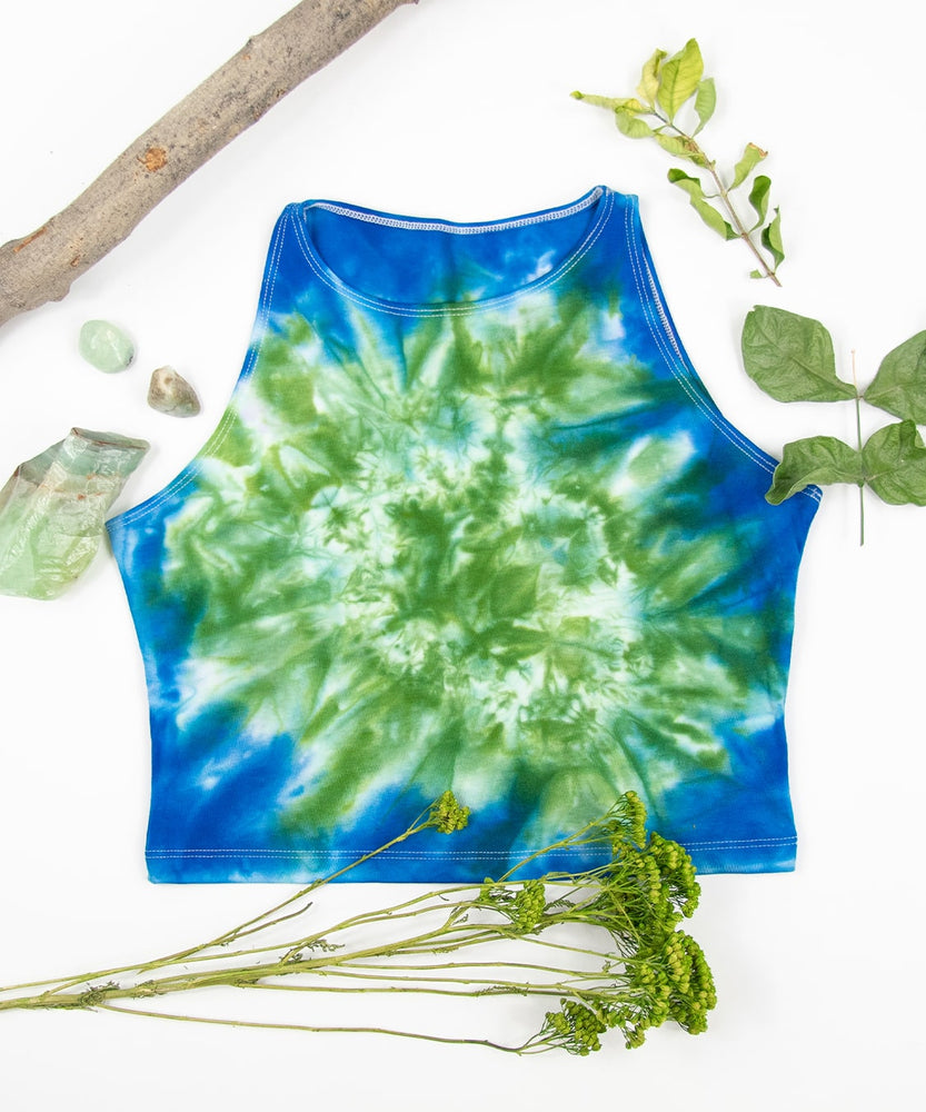 Green + blue tie dye crop top made of sustainable cotton by Akasha Sun.
