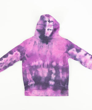 Pink and black tie dye toddler's jacket with a soft fleece interior, hood, pockets, and zipper.
