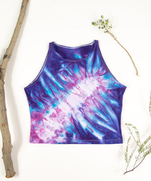 Purple and pink tie dye crop top by Akasha Sun.