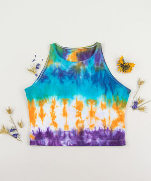 Blue, orange, and purple tie dye crop top by Akasha Sun.
