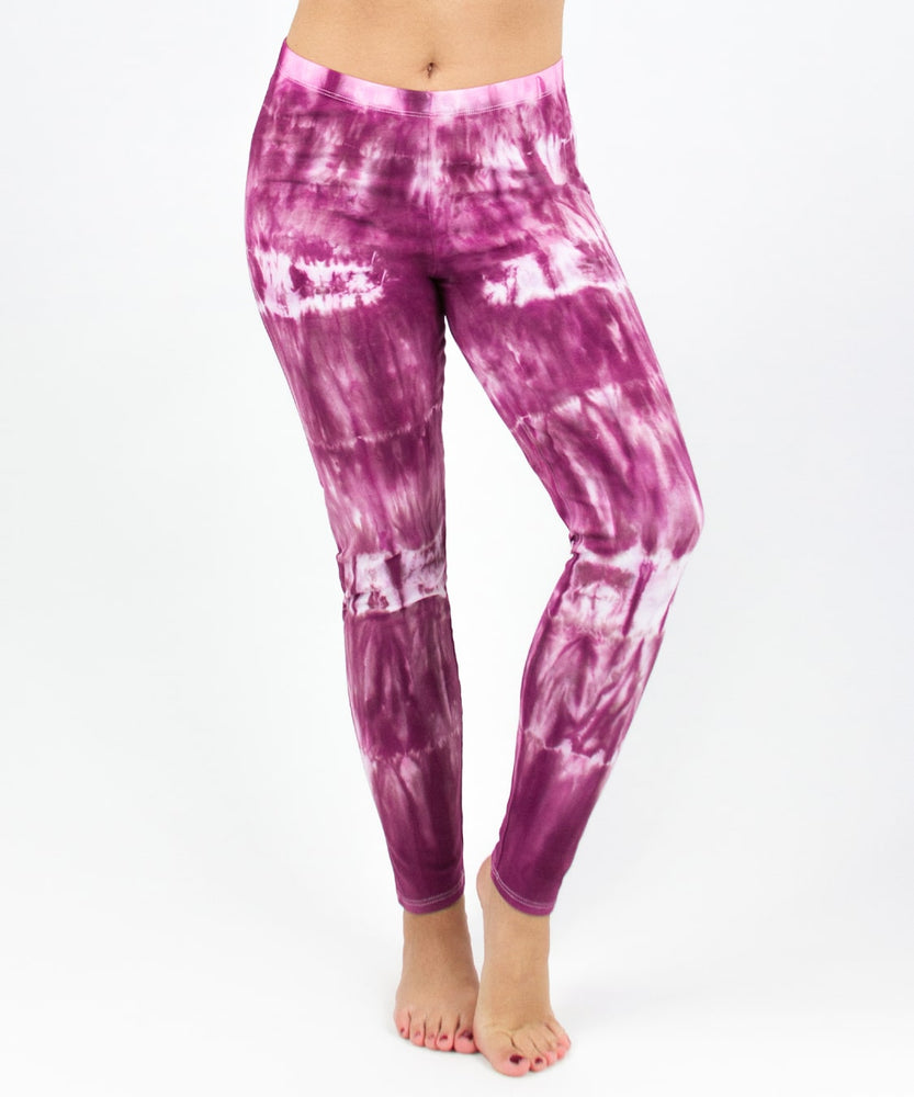 Pink tie dye yoga leggings by Akasha Sun.
