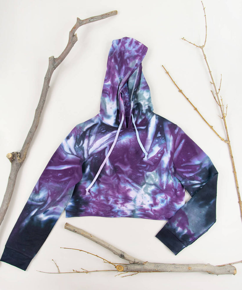 Load image into Gallery viewer, Eolande Tie Dye Hoodie Crop Top