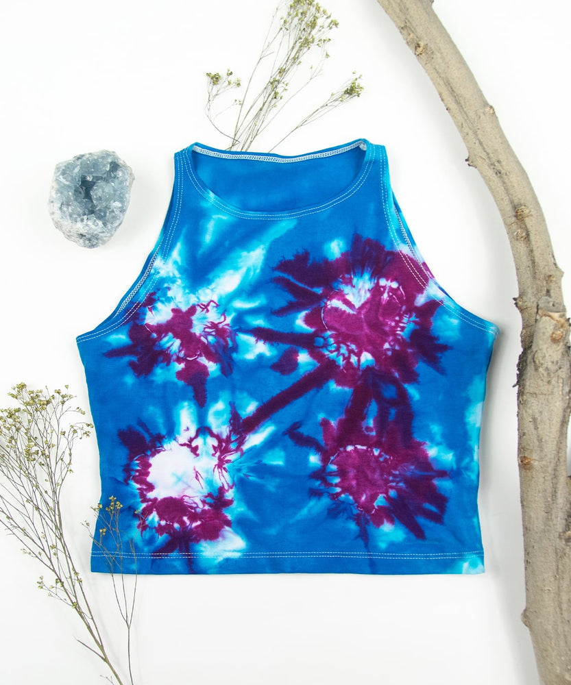 Load image into Gallery viewer, Blue + Purple tie dye crop top by Akasha Sun.