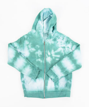 Children's tie dye jacket with a fleece interior, hood, pockets, and zipper.  The colors in the jacket are teal and white.