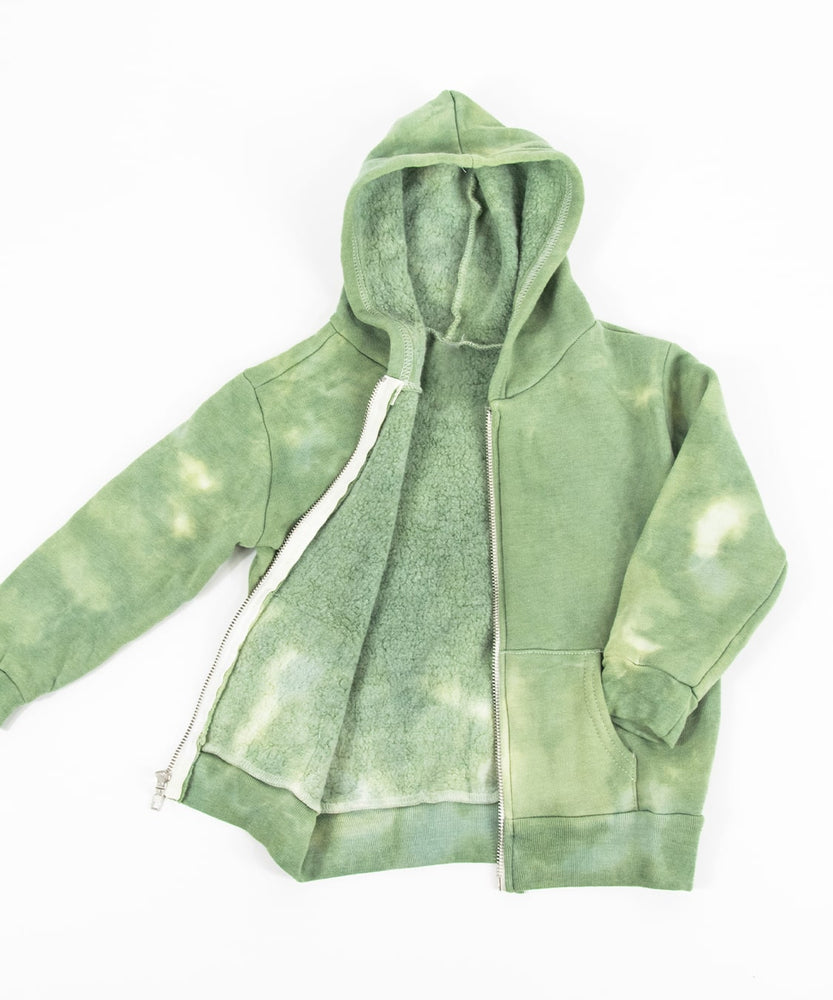 The Green Earth tie dye jacket that features a soft fleece interior, a hood, and a zipper.  The colors are a soft olive and sage green.