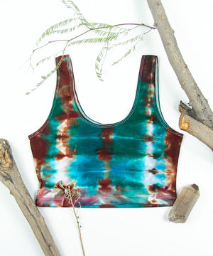 Teal and copper tie dye crop tank.