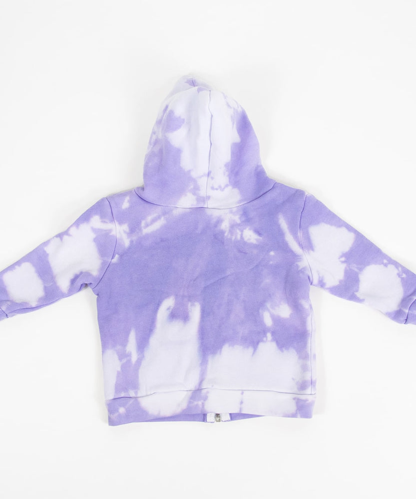 Purple and white tie dye baby set that includes an organic onesie, organic baby hat, and jacket.