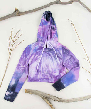 Purple tie dye hoodie crop top by Akasha Sun.