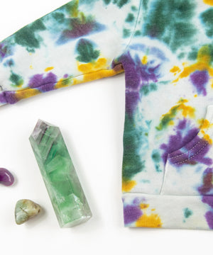 Load image into Gallery viewer, Mardi Gras tie dye baby jacket by Akasha Sun.