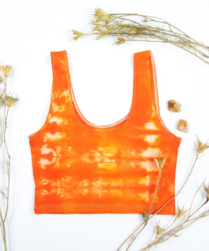 Orange tie dye crop top by Akasha Sun.