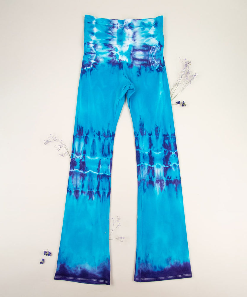 Load image into Gallery viewer, Blue tie dye yoga pants with wide waistband by Akasha Sun.