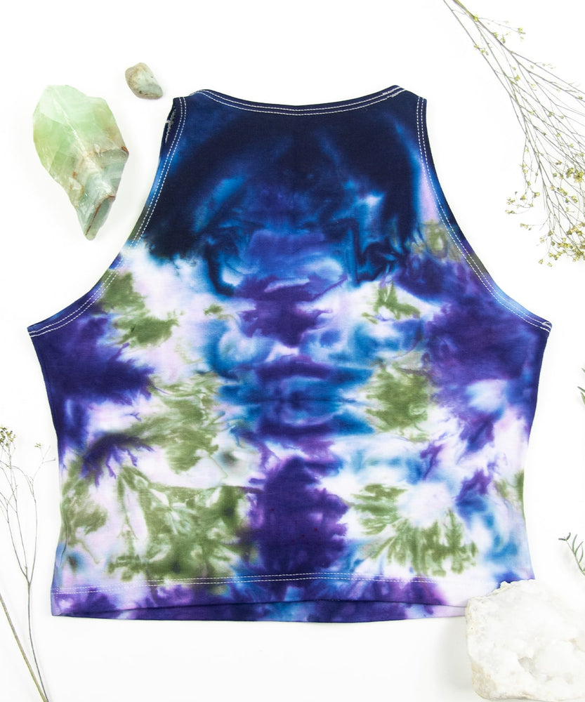 Load image into Gallery viewer, Blue + green tie dye crop top by Akasha Sun.