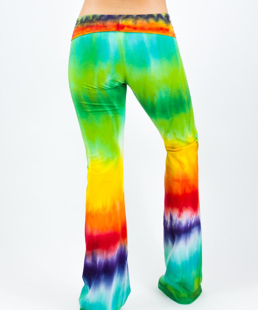 Load image into Gallery viewer, Rainbow tie dye yoga pants with a fold-over waistband.