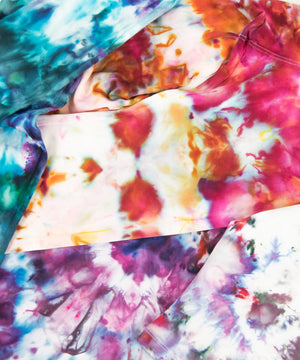 Load image into Gallery viewer, Sustainable ice dye kit for DIY at home tie dyeing and ice dye projects.  Includes a face mask, gloves, rubber bands, fiber reactive dye shakers, ice dye guide, and soda ash fixer.