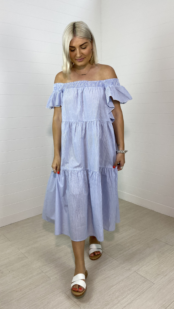 Hayley Ruffle Sleeve Dress (Blue Stripe)