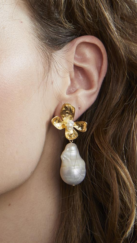 ES488G - Flower Pearl Dangle