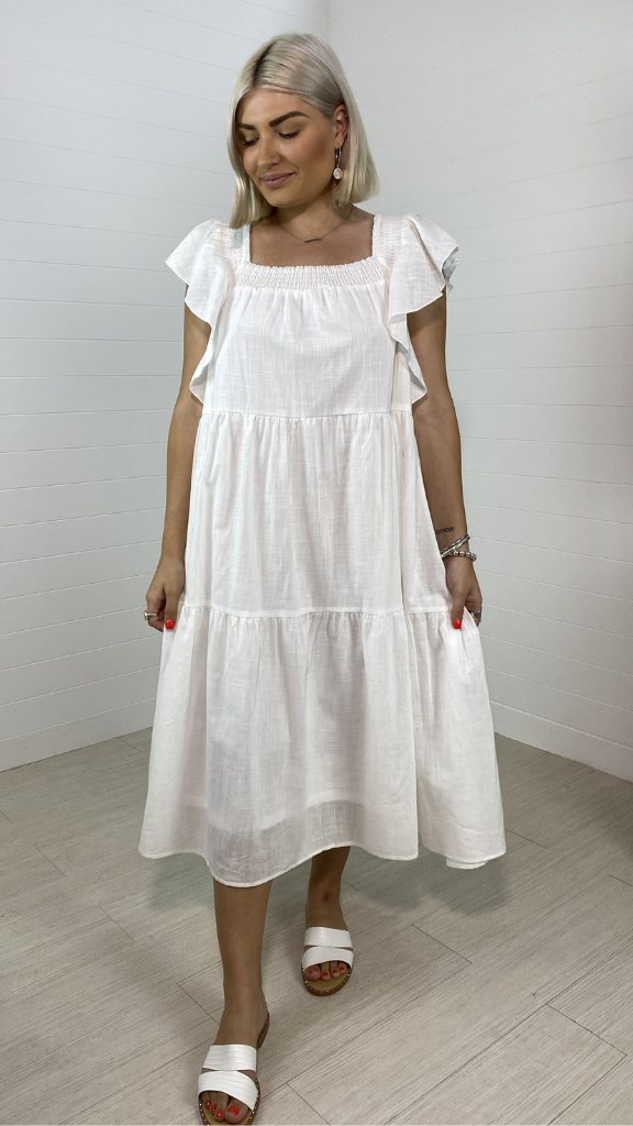 Hayley Ruffle Sleeve Dress (White)