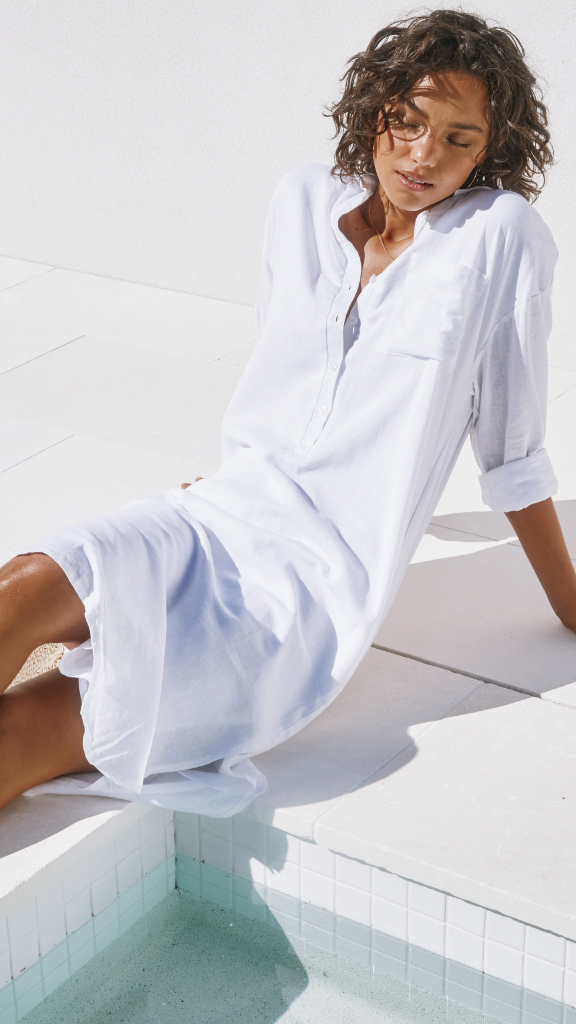 Bella Shirt Dress (White)