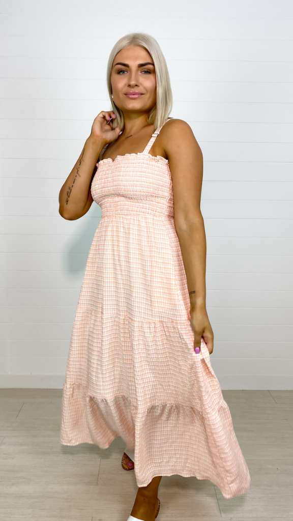 Jenni Check Dress (Peach)