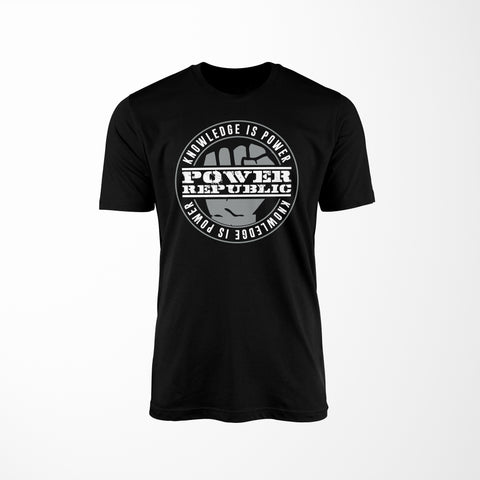 POWER REPUBLIC 'KNOWLEDGE IS POWER' MEN'S TEE - BLACK