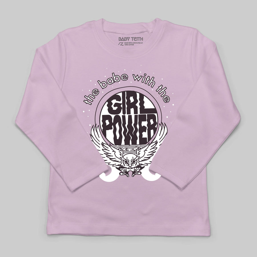 Babe with the Girl Power Long Sleeve Tee for Kids