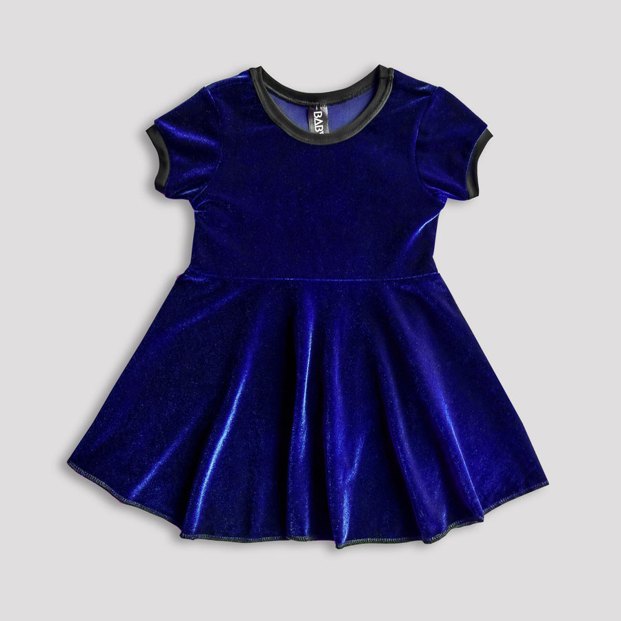 Royal Blue Velvet Skater Dress for Kids