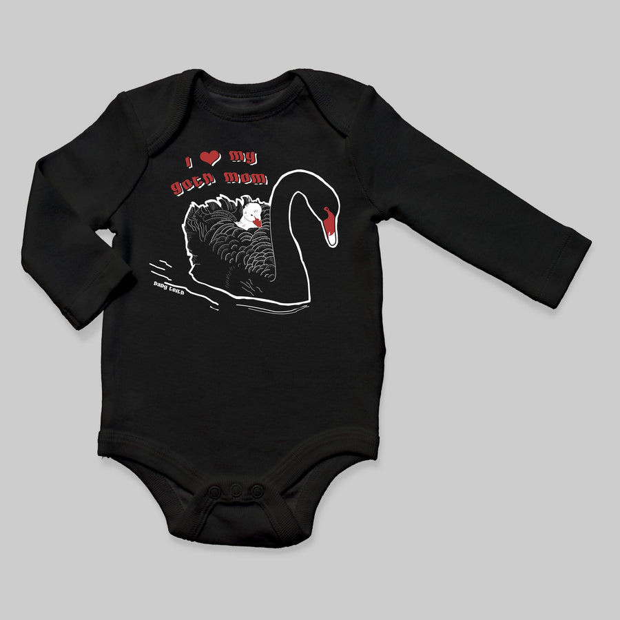 """I Love My Goth Mom"" Long Sleeve Bodysuit for Babies - Baby Teith"