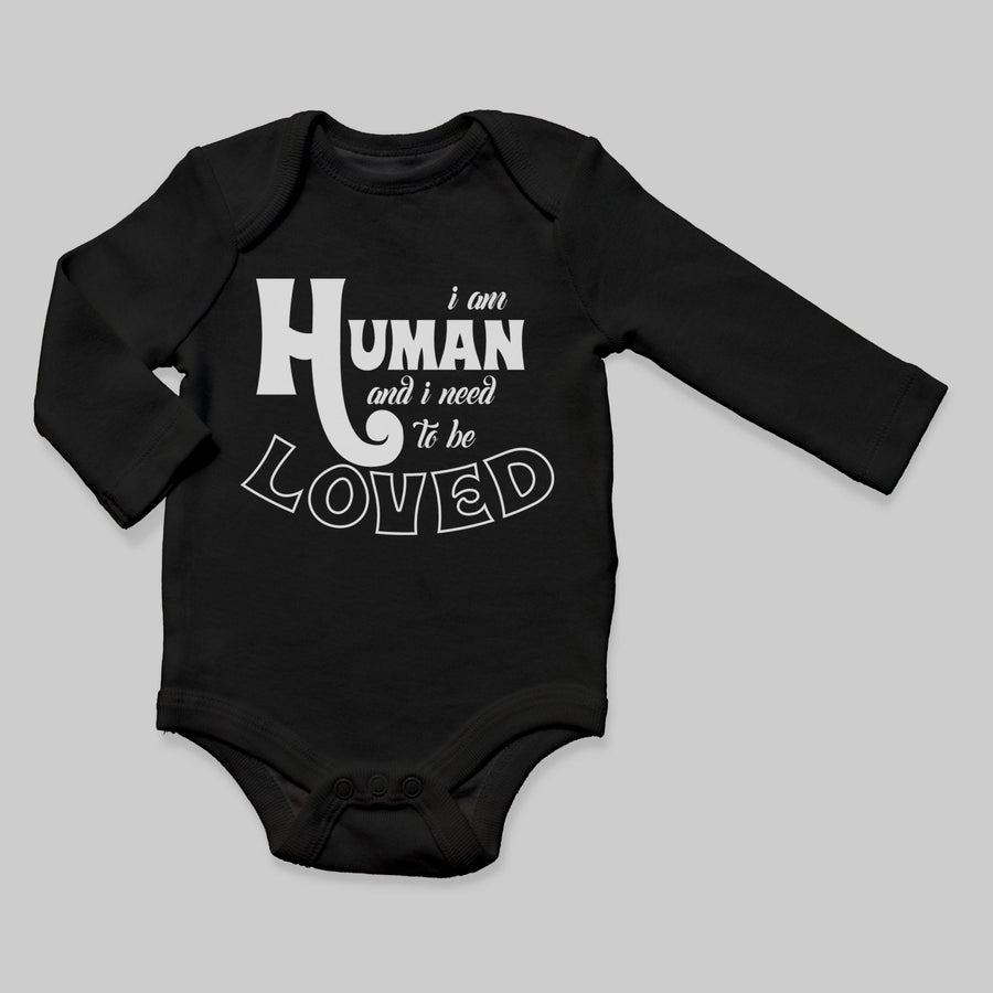 """I am Human"" Long Sleeve Baby Bodysuit"
