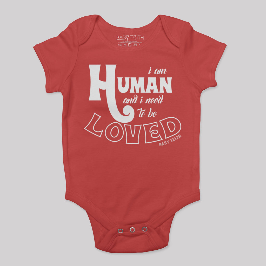 """I am Human"" Short Sleeve Baby Bodysuit (6 colors) - Baby Teith"