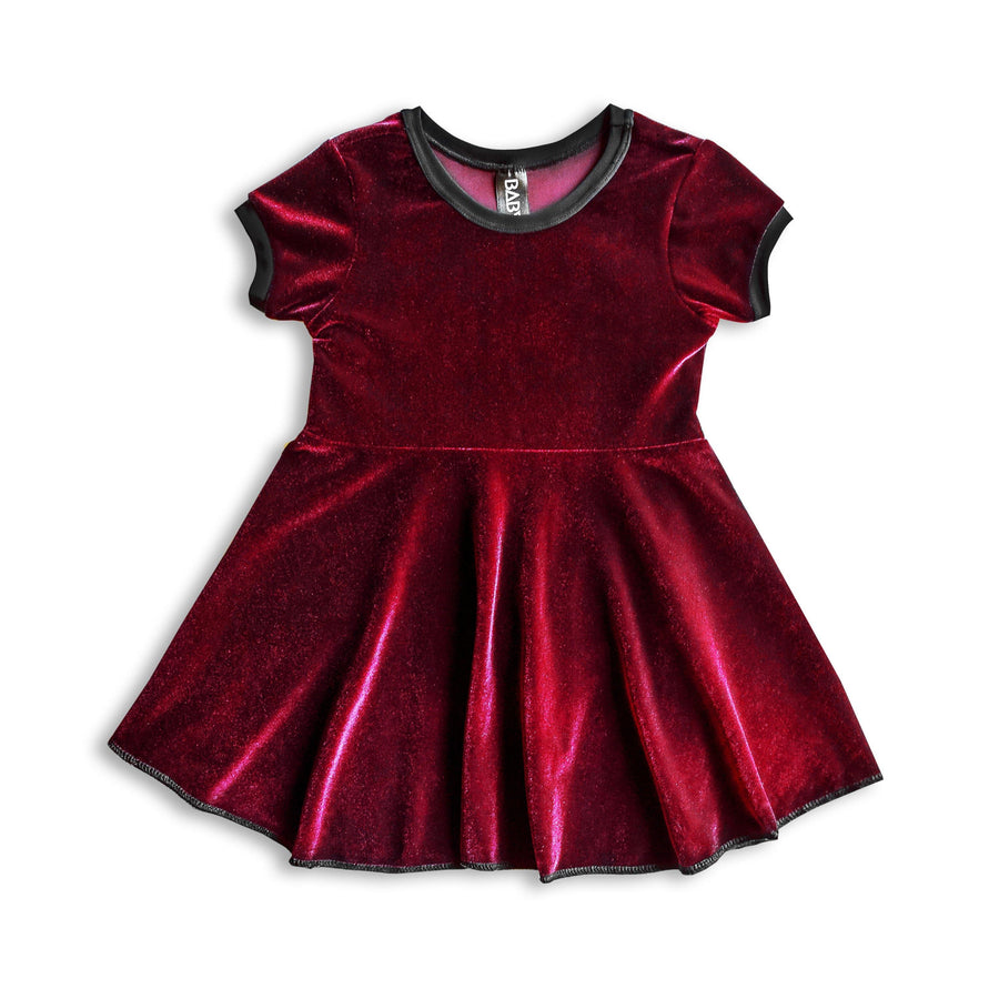 Candy Red Velvet Skater Dress for Kids