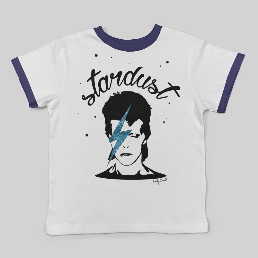 """Stardust"" Ringer Tee with Glitter for Big Kids"