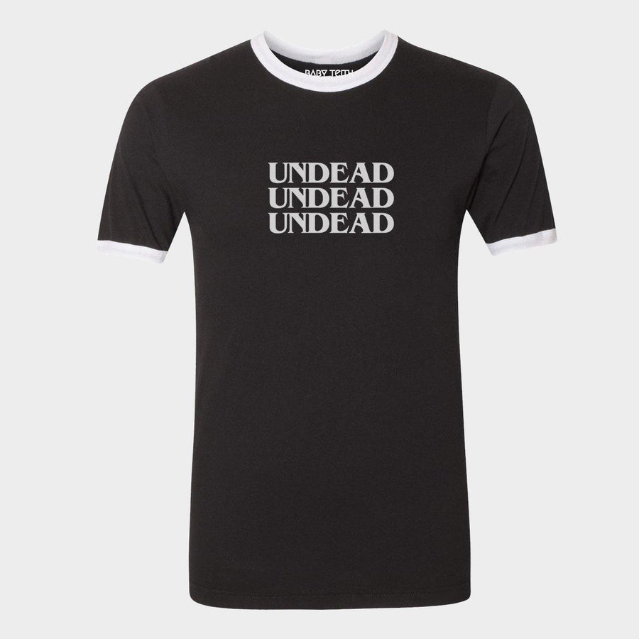 Undead Unisex Ringer Tee for Adults in Black - Baby Teith
