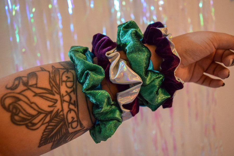 Metallic Velvet Hair Scrunchie Set