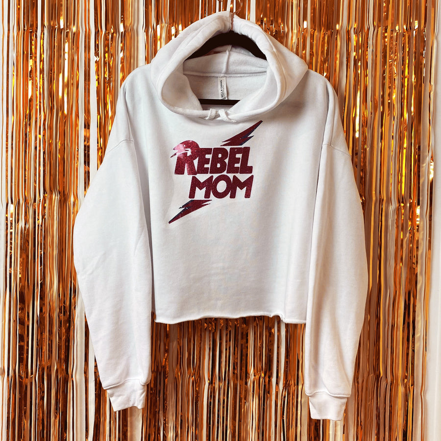 Rebel Mom White Cropped Hoodie Large (Limited Special Buy)