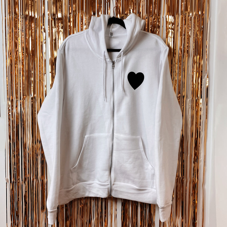 80's Love Songs White Unisex Zip-Up Hoodie (Limited Special Buy)