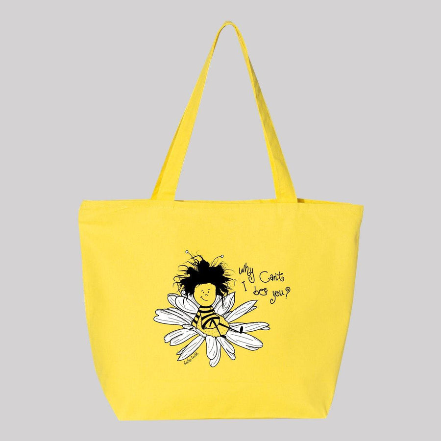 Why Can't I Bee You Jumbo Canvas Tote - Baby Teith