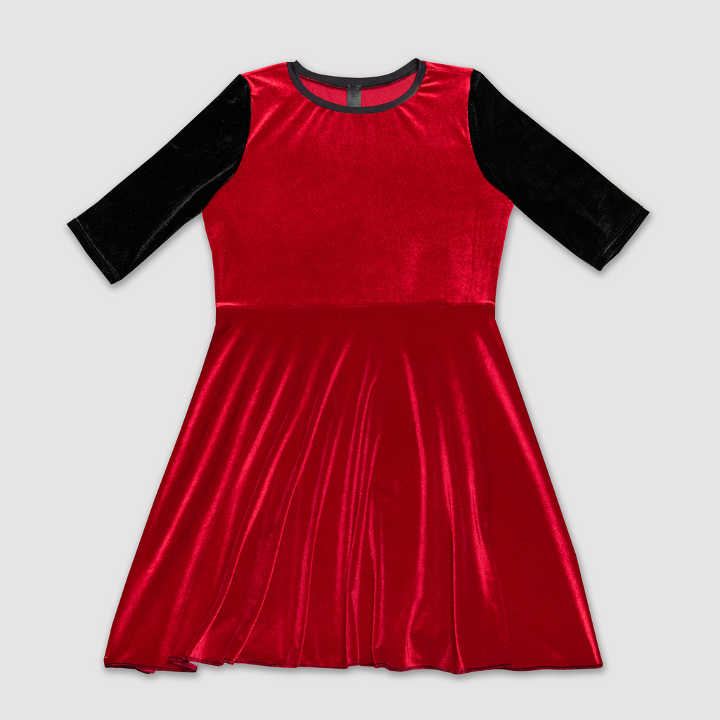 Black and Red Velvet Dress (adult and kids)