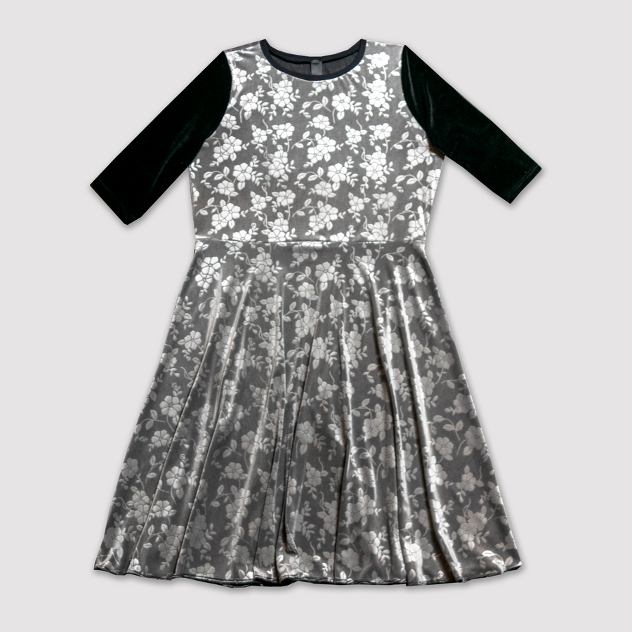 Black and Silver Embossed Velvet Dress (adult and kids)