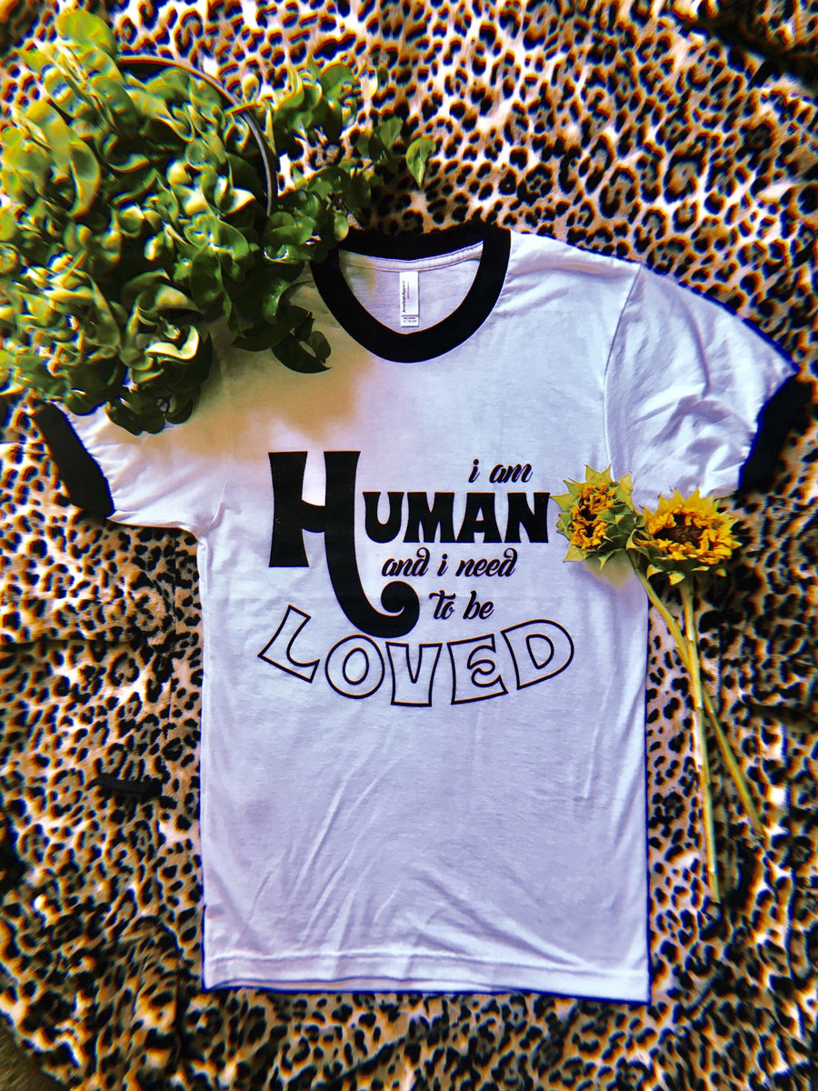 """I am Human"" Ringer Tee  Black / White - Unisex fit"