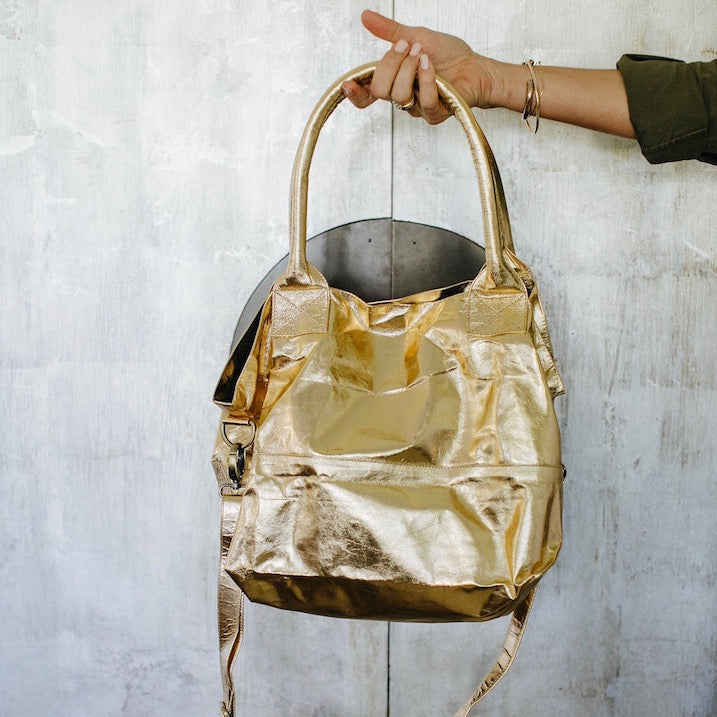 Paris Leather Tote Bag<br>Gold