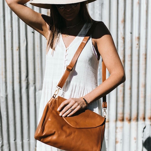 Singapore Leather Crossbody Bag<br>Caramel