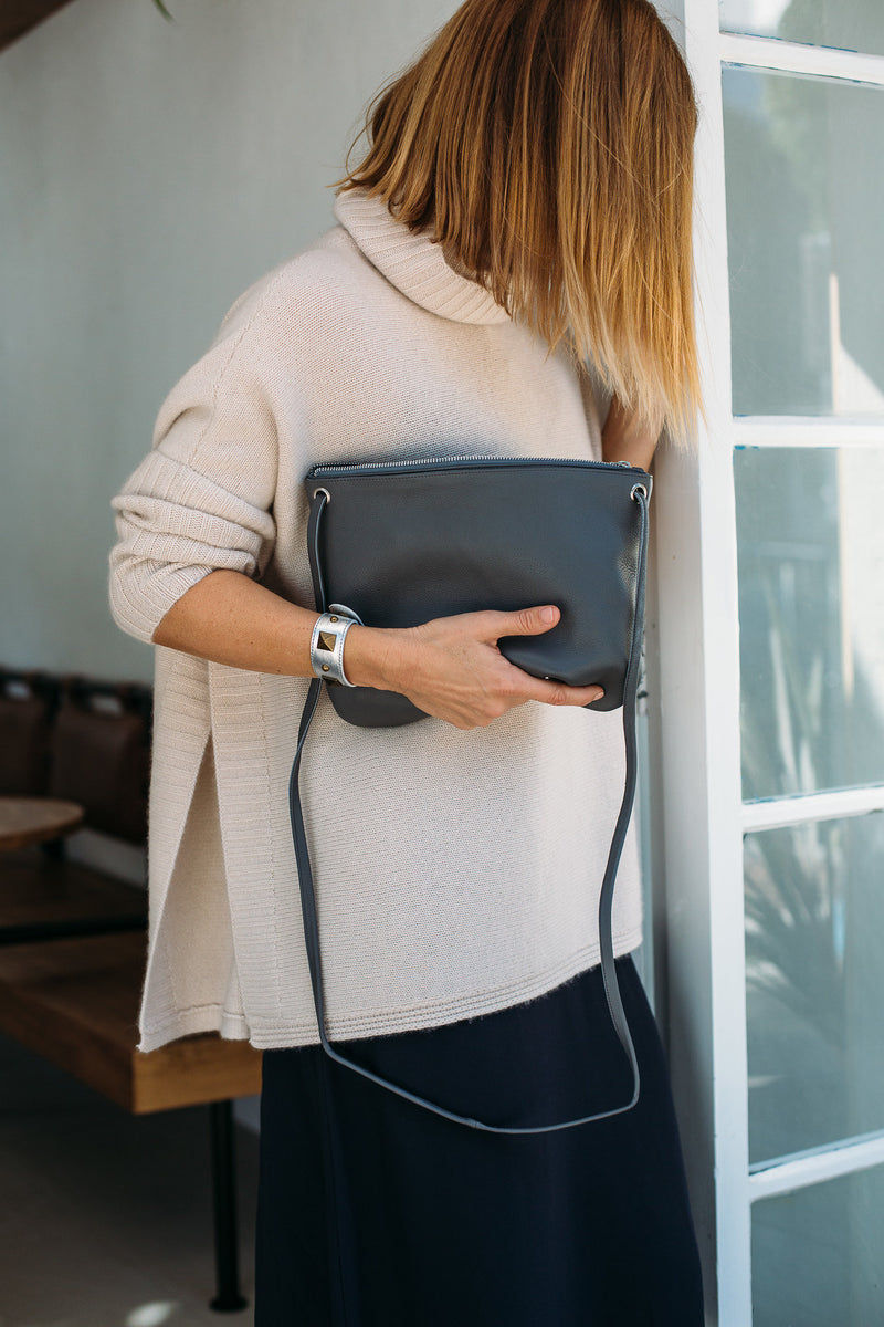 Florence Leather Crossbody Bag<br>Grey