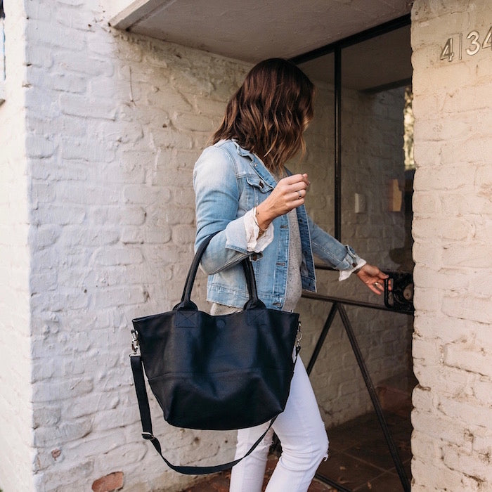 Paris Leather Tote Bag<br>French Navy