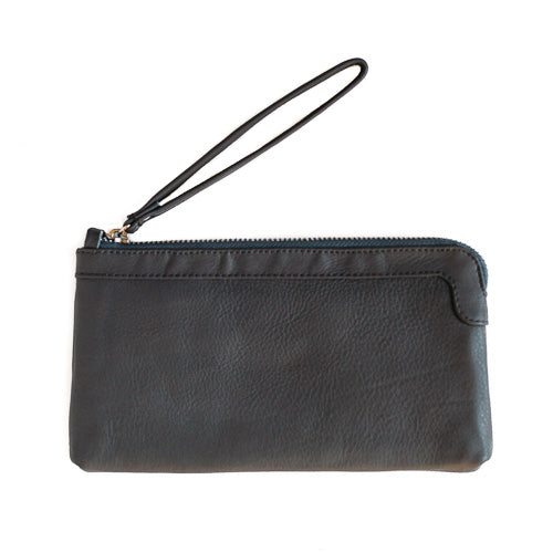 Berlin Leather Clutch Wallet<br>Grey