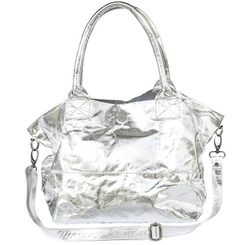 Paris Leather Tote Bag<br>Silver