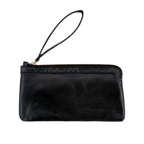 Berlin Leather Clutch Wallet<br>Black