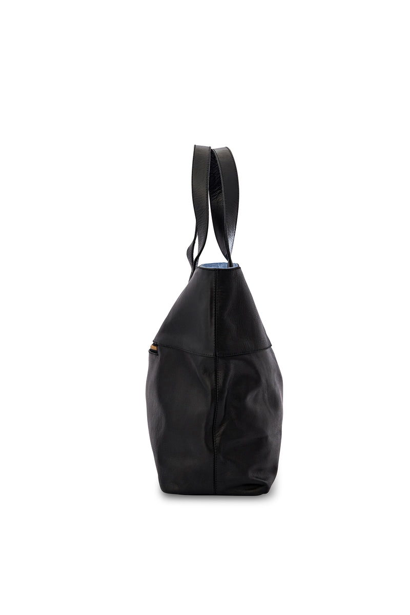 New York Leather Tote Bag<br>Black