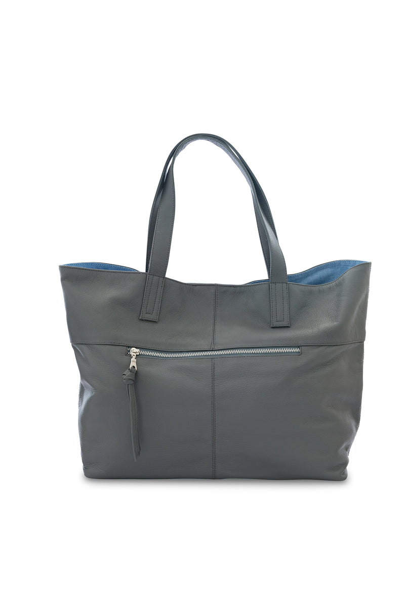 New York Leather Tote Bag<br>Grey