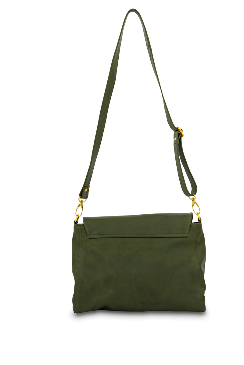 Singapore Leather Crossbody Bag<br>Army